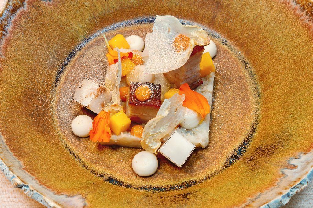 sellerie – schweinebauch – mole – mango