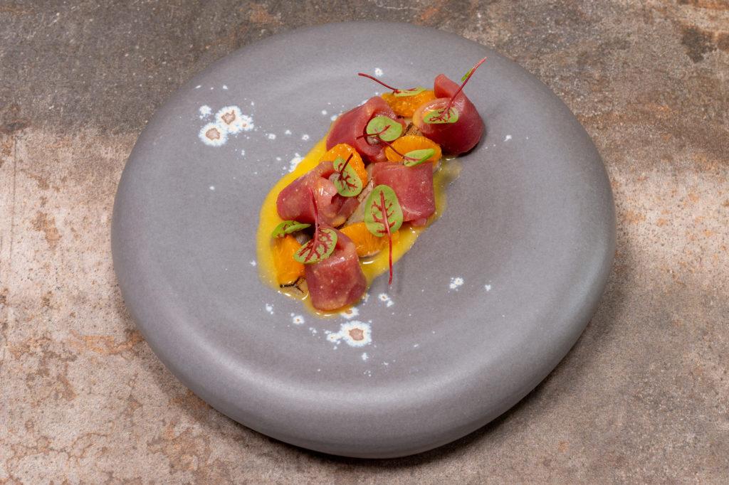 Thunfisch | Mandarine | Schwarzwurzel | Miso | Schwarze Bohnen